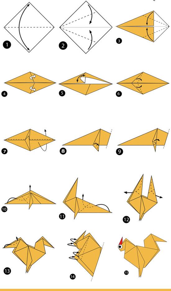 آموزش ساخت اوریگامی ساده،آموزش ساخت اوریگامی مرغ