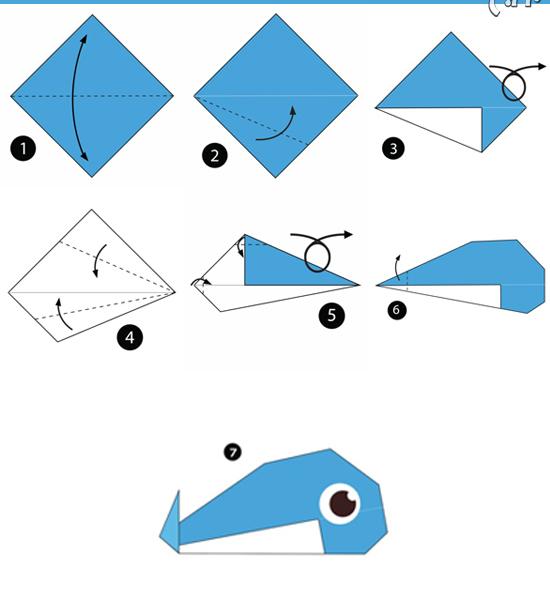 آموزش ساخت اوریگامی ساده،آموزش ساخت اوریگامی نهنگ