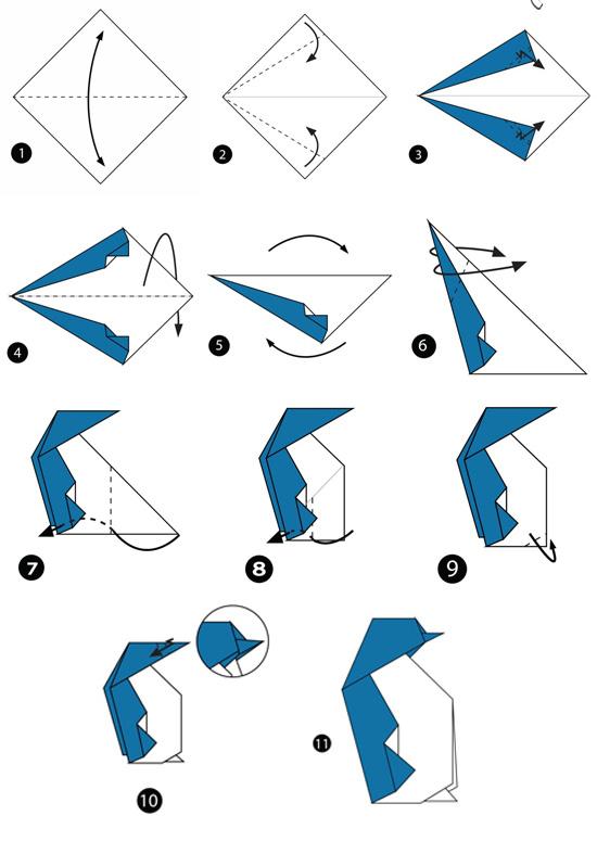 آموزش ساخت اوریگامی ساده،آموزش ساخت اوریگامی پنگوئن