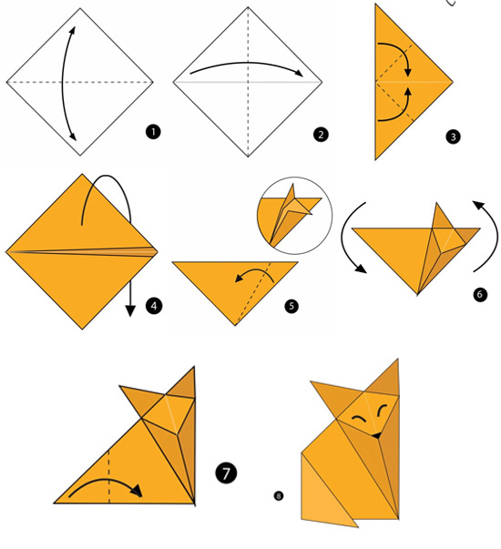 آموزش ساخت اوریگامی ساده،آموزش ساخت اوریگامی روباه