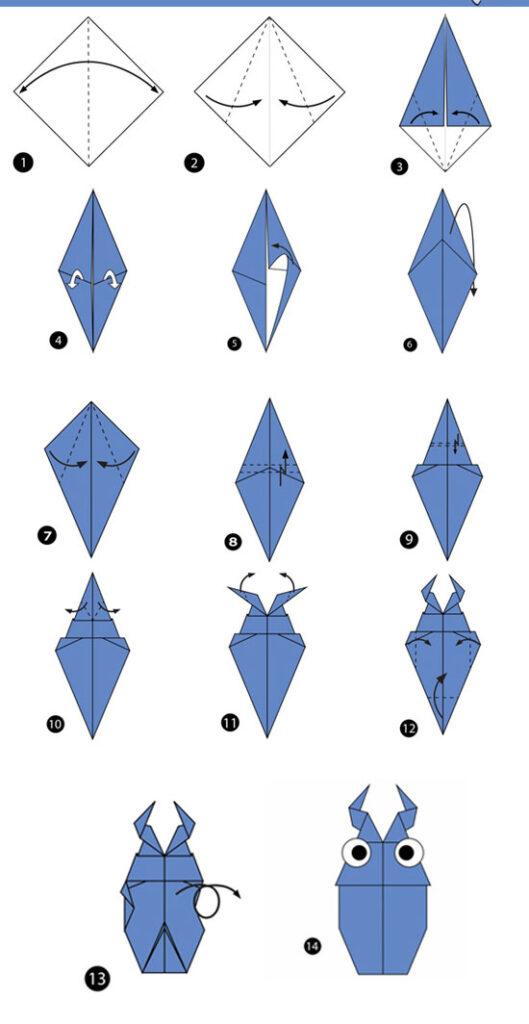آموزش ساخت اوریگامی ساده،آموزش ساخت اوریگامی سوسک